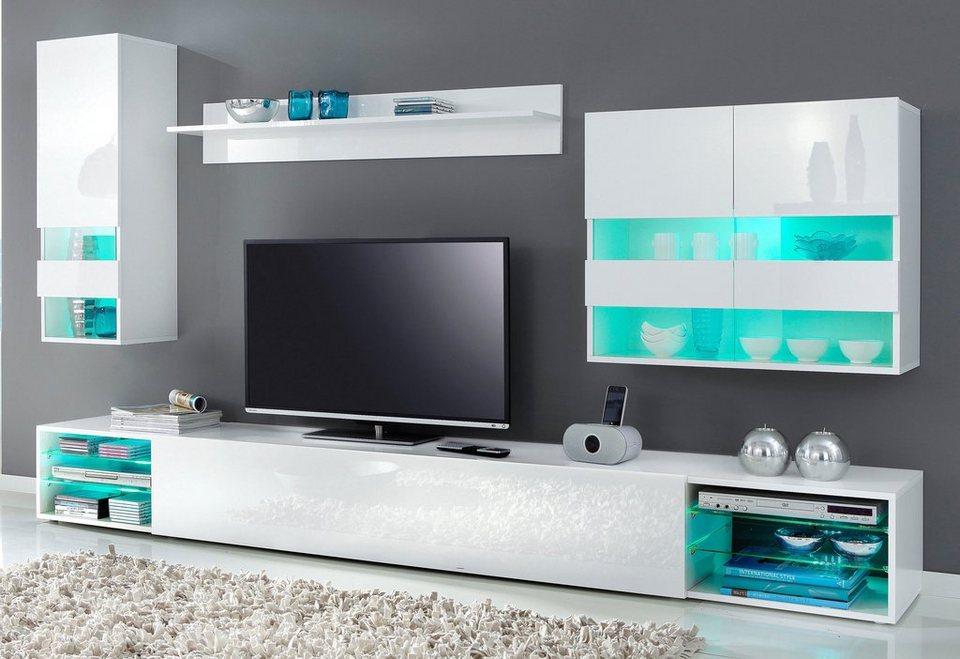 Wohnwand weiß grau hochglanz  Tecnos Wohnwand (4-teilig) online kaufen | OTTO
