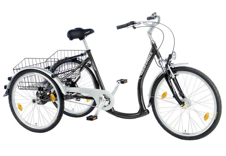 Dreirad, 7-Gang Shimano-Nexus-Nabenschaltung mit Rücktritt, »Luxus«, Trendmaxx in schwarz