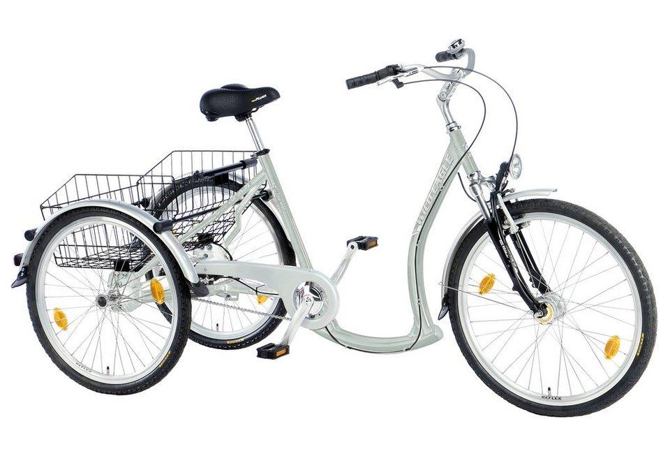 Dreirad, 7-Gang Shimano-Nexus-Nabenschaltung mit Rücktritt, »Luxus«, Trendmaxx in silberfarben