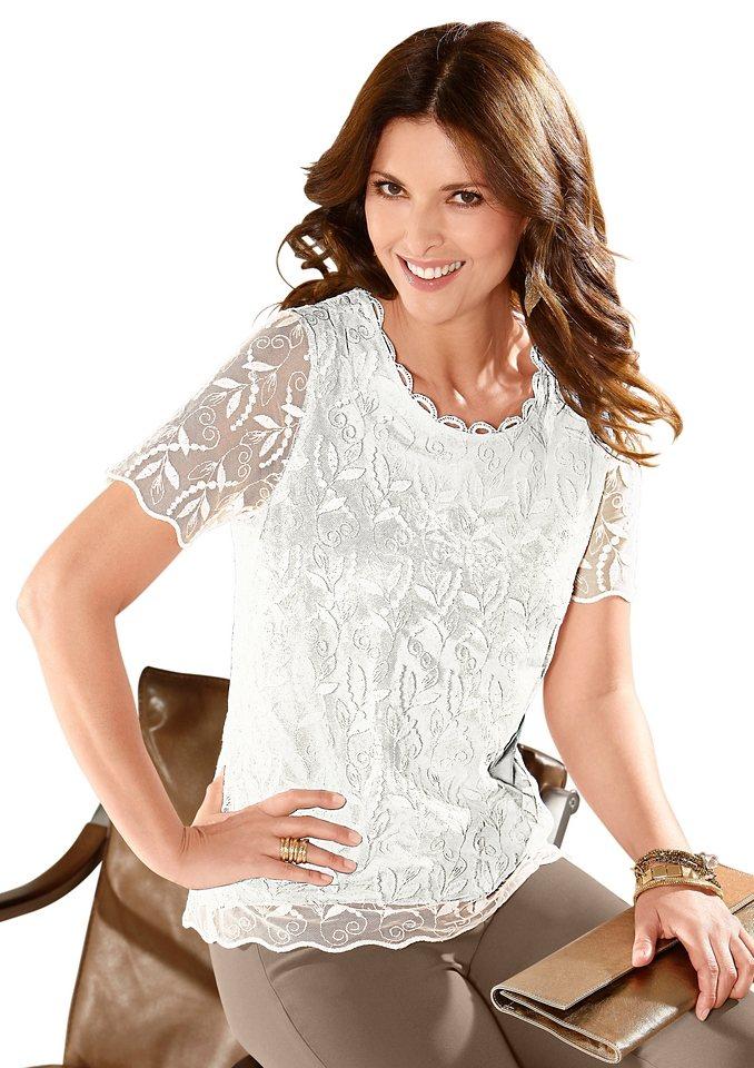Lady Shirt mit verziertem Rundhals-Ausschnitt in wollweiß
