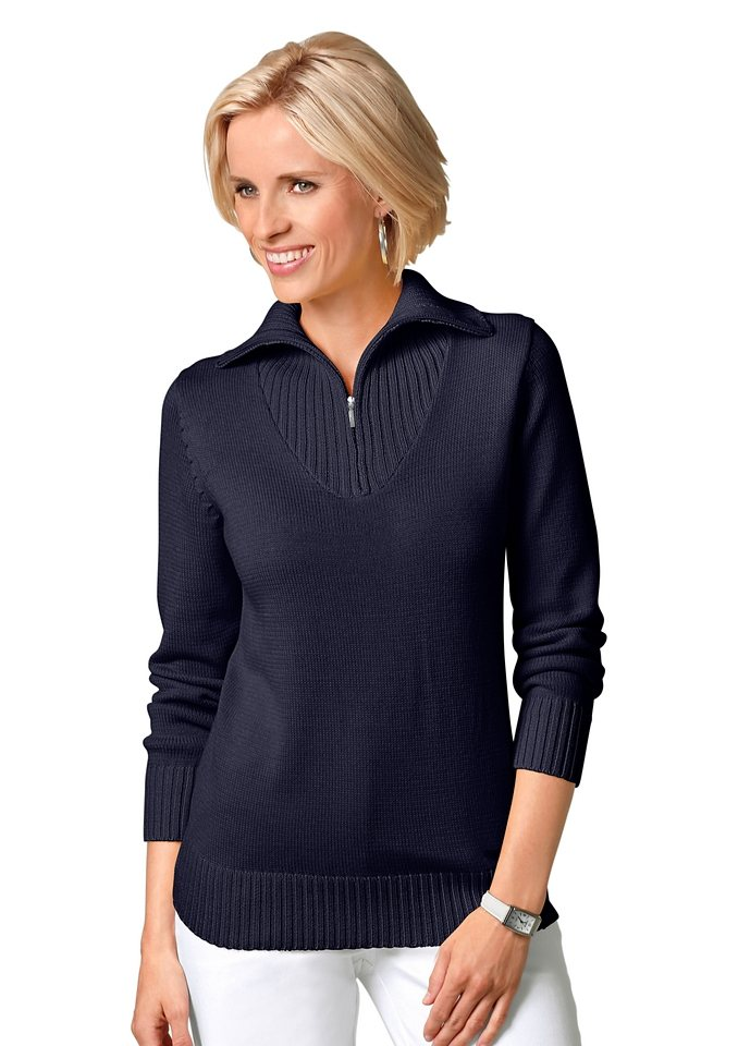 Collection L. Pullover mit sportivem Troyerkragen in marine