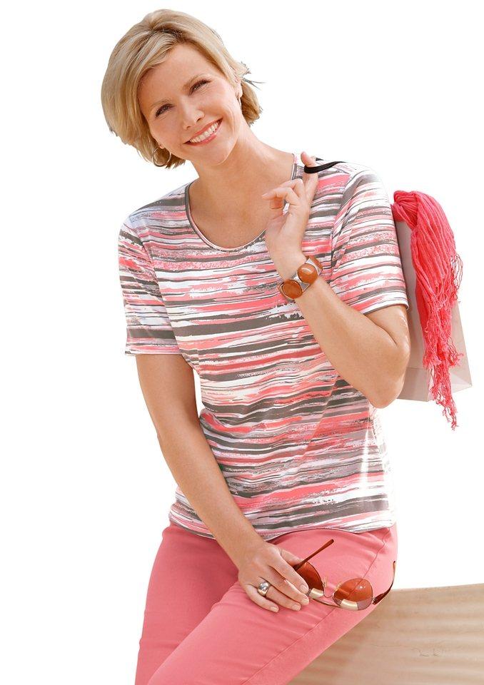 Collection L. Shirt in Streifen-Dessin in koralle-khaki-bedruckt
