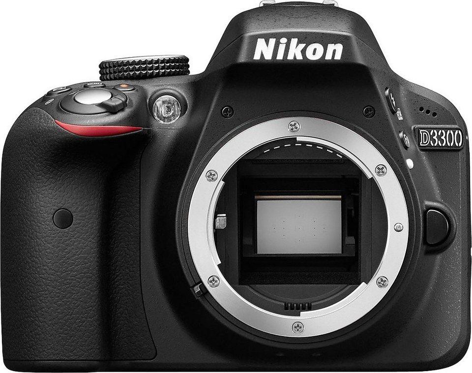 NIKON D3300 Body Spiegelreflex Kamera, 24,2 Megapixel, 7,5 cm (3 Zoll) Display in schwarz