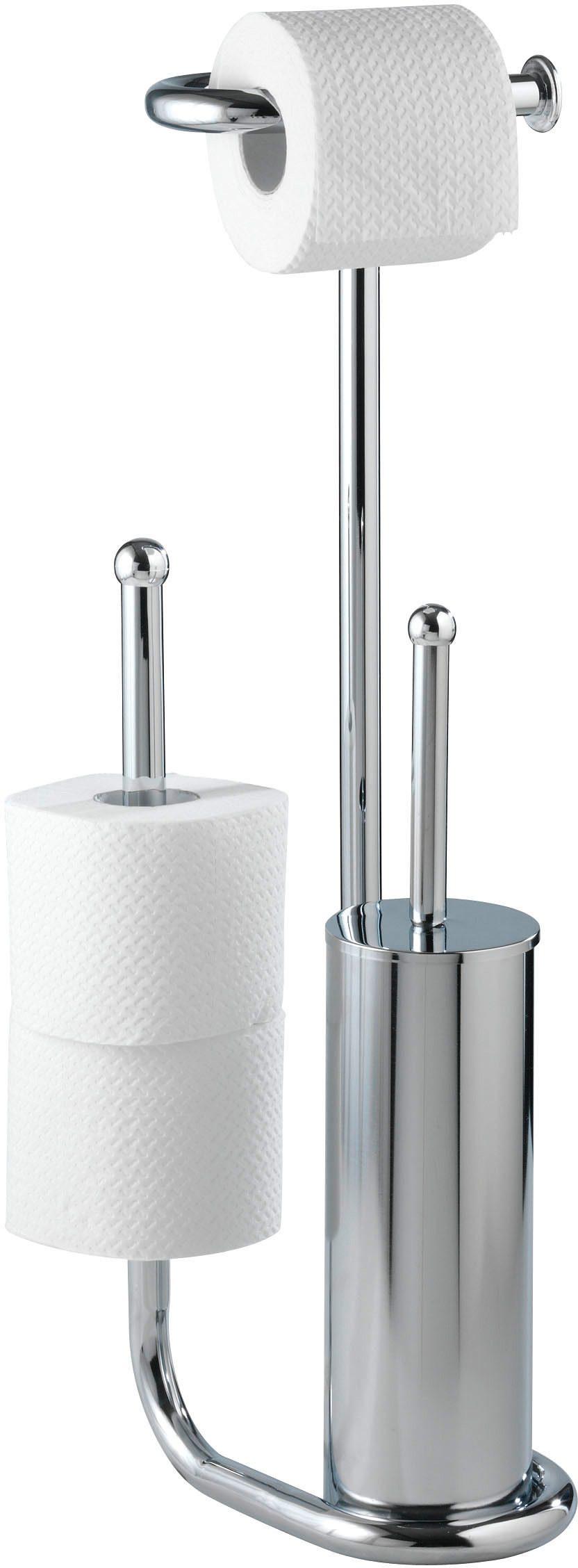 WENKO Stand WC-Garnitur Universalo Chrom, mit Ersatzrollenhalter