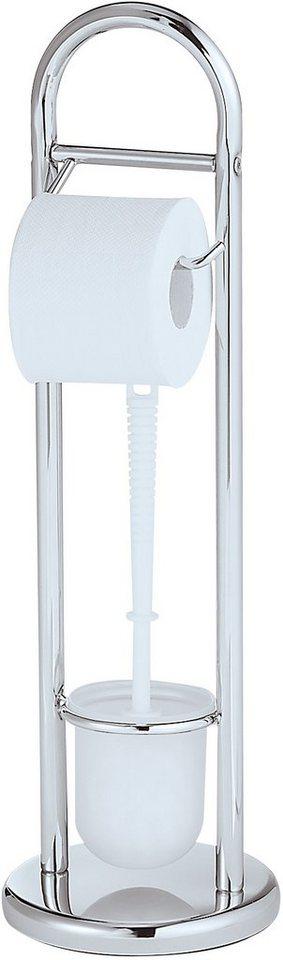 WENKO Stand WC-Garnitur Siena Chrom in weiß