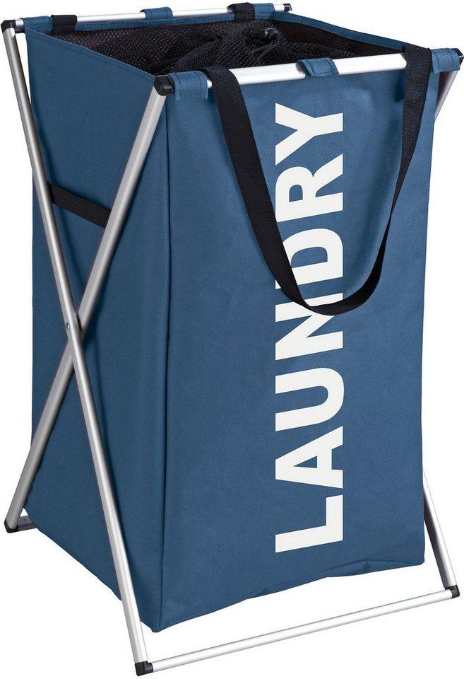 WENKO Wäschesammler Uno Blau, Wäschekorb in blau