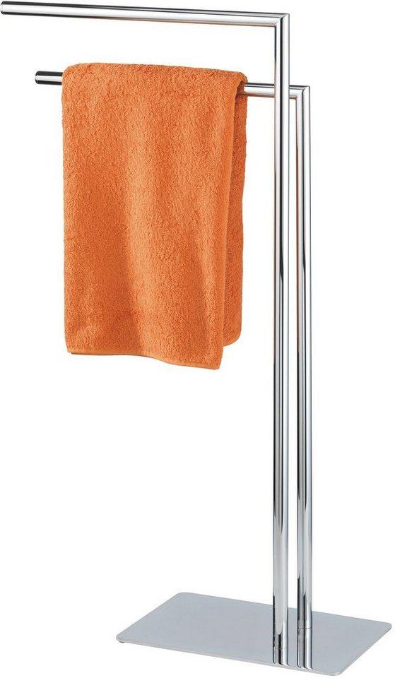 WENKO Handtuchständer Recco mit 2 Armen, Kleiderständer in silberfarben