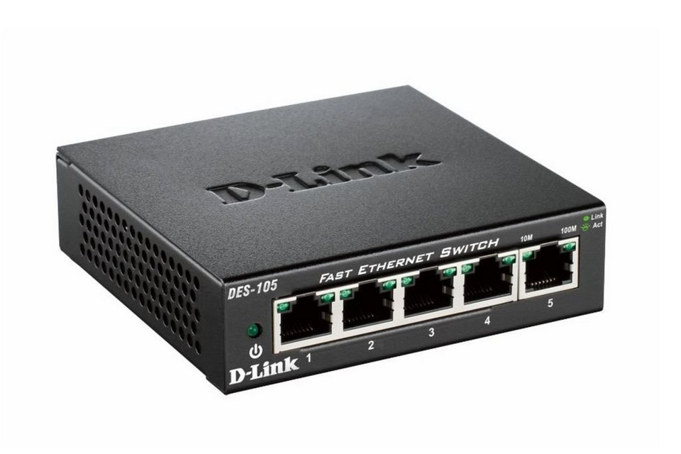 D-Link Switch »DES-105 5-Port Layer2 Fast Ethernet Switch« in Schwarz