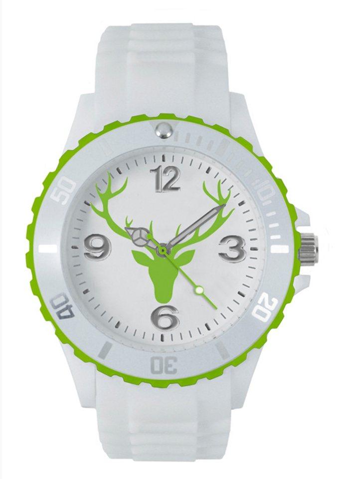 Trachtenuhr, Hirsch Uhren in weiß-grün