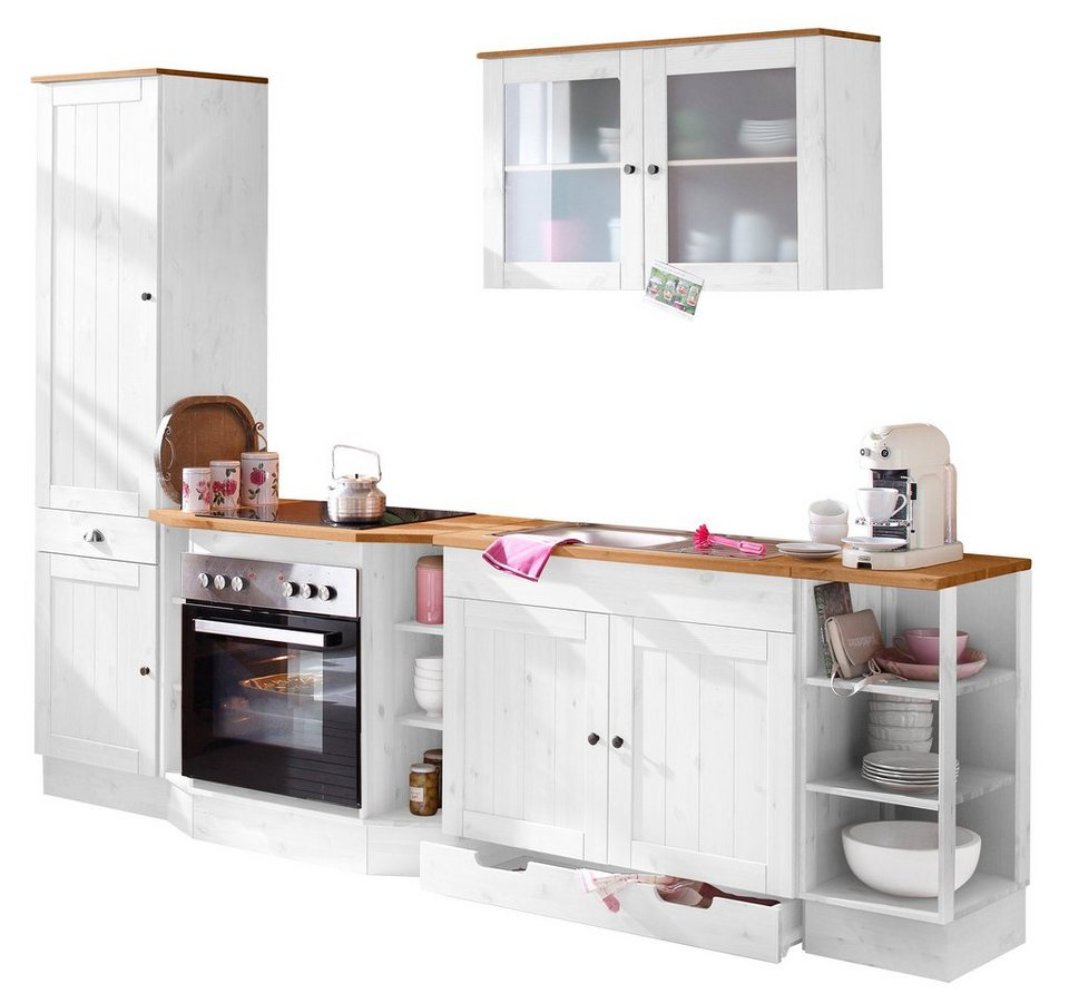 Spar-Set: Küchenblock, »Föhr«, Breite 285 cm (5-tlg.) in weiß-honigfarben
