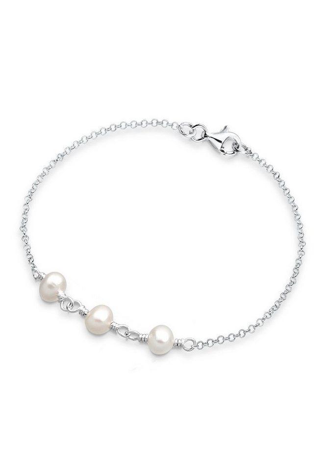 PERLU Armband »Süßwasserzuchtperlen Silber« in Weiß