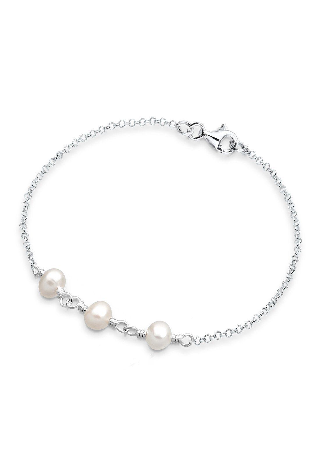 PERLU Armband »Süßwasserzuchtperlen Silber«