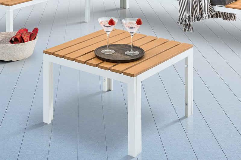 riess-ambiente Gartentisch »ORLANDO LOUNGE 60cm weiß / natur«, Polywood · Beistelltisch · Modern Design · Metall