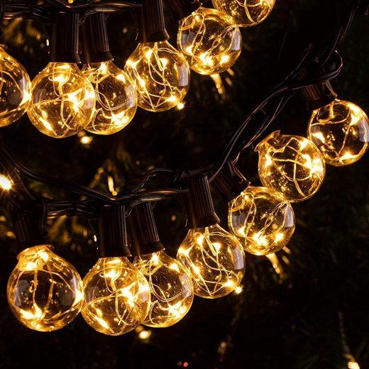 Ulinek LED-Lichterkette, 11,7M IP65 LED Lichterkette Außen, 30er G40 Glühbirnen E12 Warmweiß+3 Ersatzglühlampe, 155 LEDs, Wasserdicht Outdoor/Indoor Deko Licht mit Stecker für Party Garten Balkon Terrasse Hof Zelt Café
