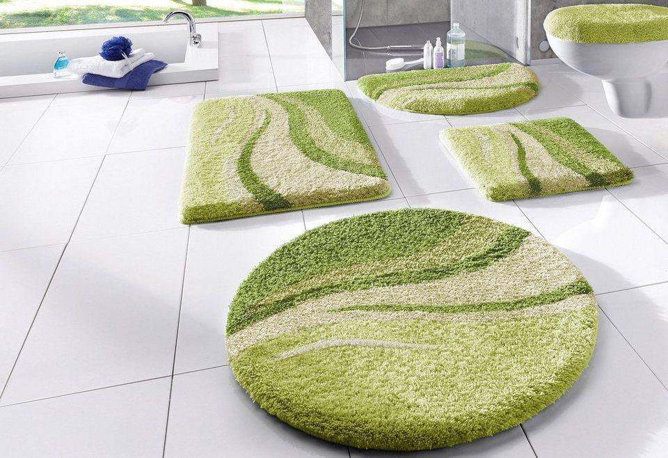 Badematte, my home, »Wave«, Höhe 25mm, rutschhemmender Rücken in grün