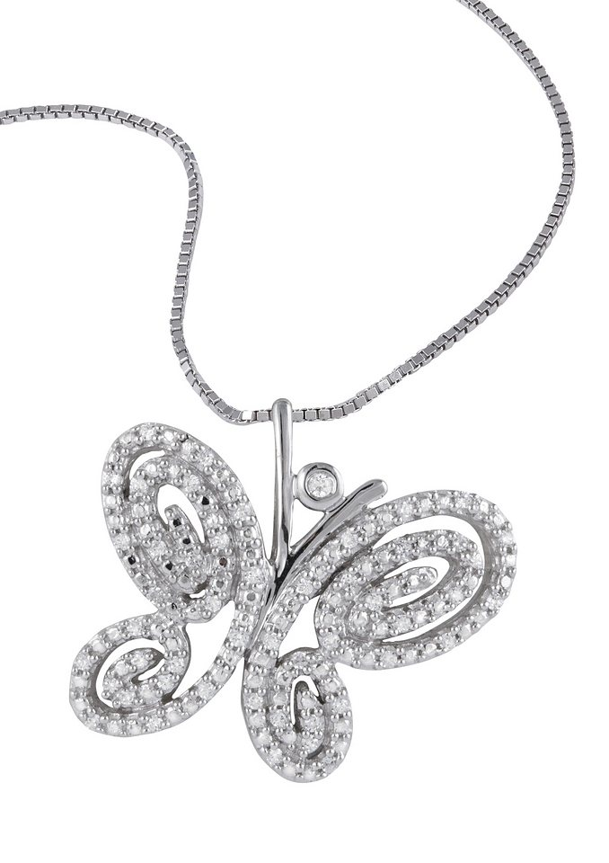 """Vivance Jewels Halsschmuck: Halskette """"Schmetterling"""" in Venezianerkettengliederung mit Diamanten in Weißgold 375"""