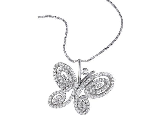 """Vivance Jewels Halsschmuck: Halskette """"Schmetterling"""" in Venezianerkettengliederung mit Diamanten"""