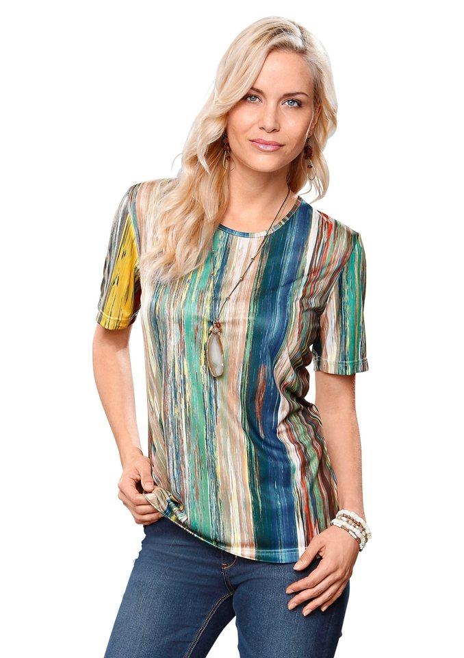 Classic Basics Shirt mit paspeliertem Rundhals-Ausschnitt in bunt-gestreift