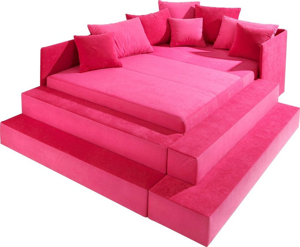 Maintal Polsterbett in rosa/pink, Microvelours