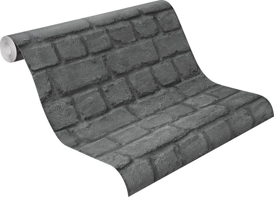 Papiertapete rasch sheffield online kaufen otto - Steintapete schwarz ...