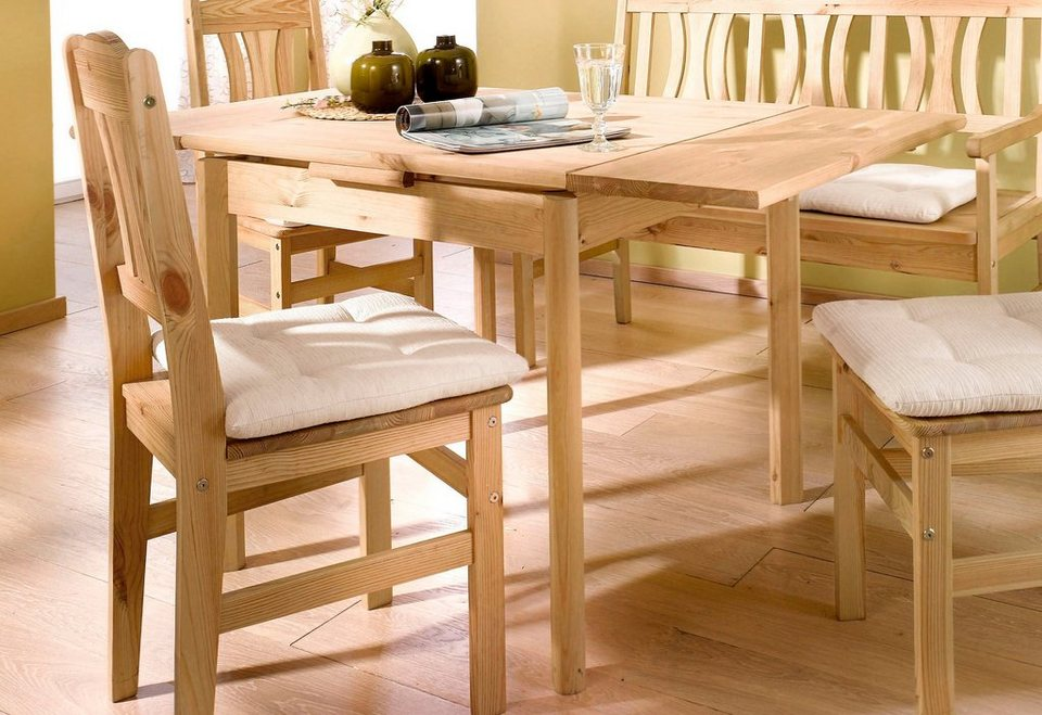 Home affaire, Massivholz-Esstisch, mit ausziehbarer Tischplatte in gelaugt/geölt