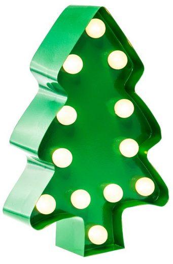 MARQUEE LIGHTS LED Dekolicht »Weihnachtsbaum«, Wandlampe, Tischlampe Xmas Tree mit 12 festverbauten LEDs - 11cm Breit und 23cm hoch
