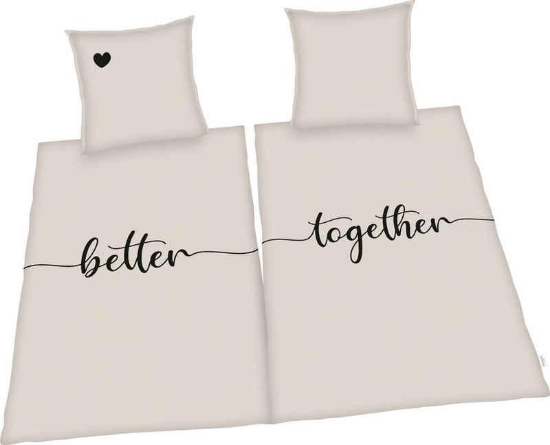 Bettwäsche »Better together«, Herding, Kissenbezüge mit Stehsaum