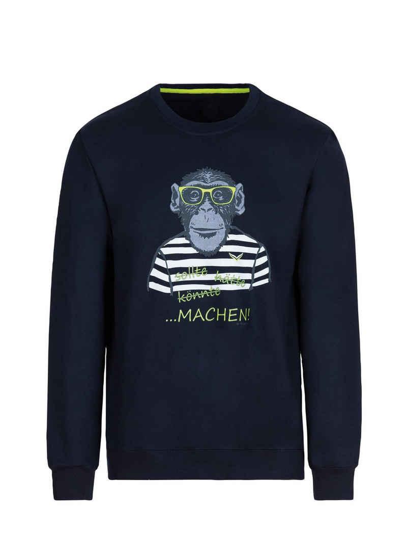 Trigema Sweatshirt mit großem Affen-Druckmotiv