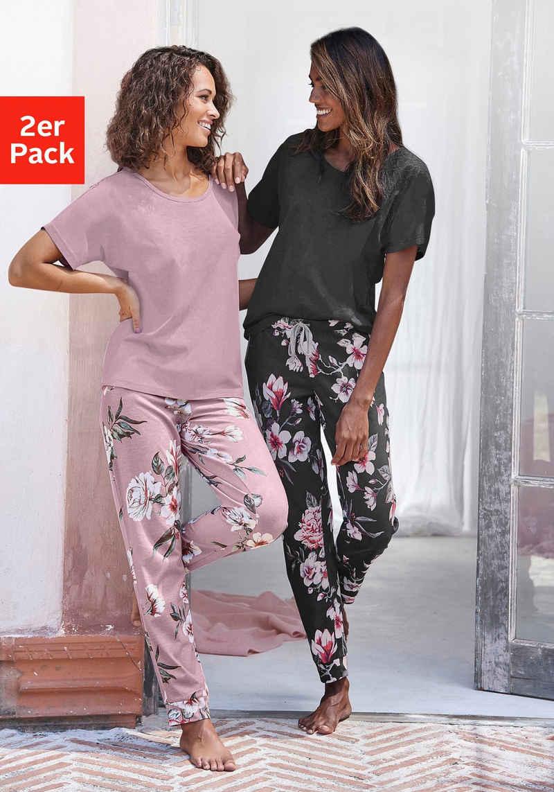 Vivance Dreams Pyjama (2 Stück) mit Blumendruck