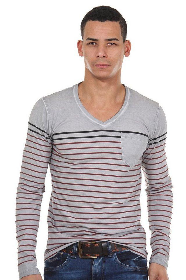R-NEAL Langarmshirt V-Ausschnitt in grau