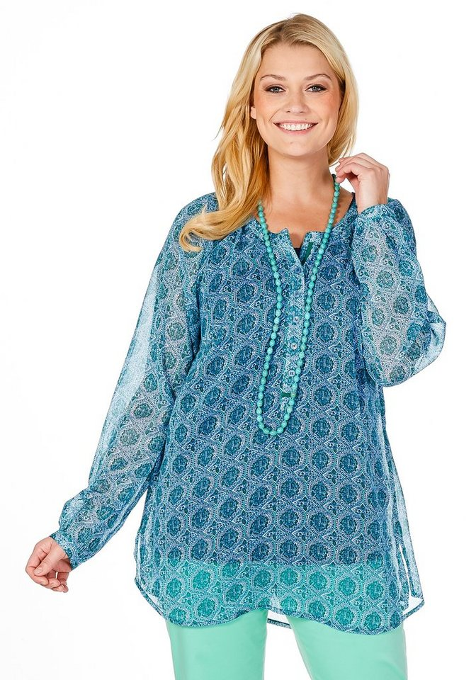 sheego Casual Longtunika mit Alloverdruck in grün-blau