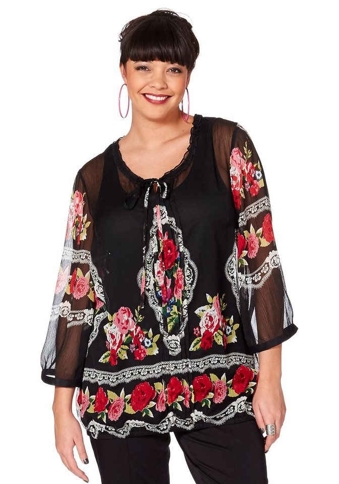 sheego Style Alloverprint-Tunika in schwarz-rot