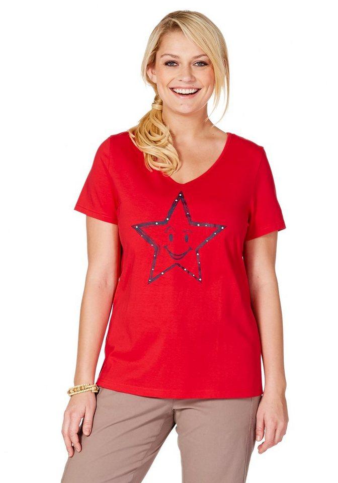 sheego Casual T-Shirt mit Stern-Druck in koralle