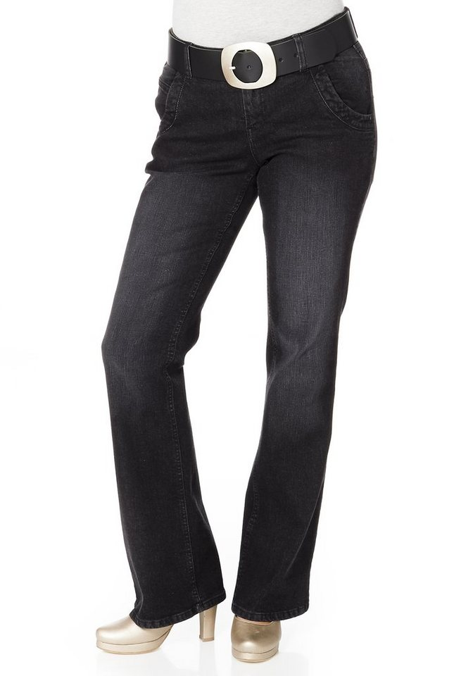 sheego Denim Bootcut-Stretch-Jeans in black Denim