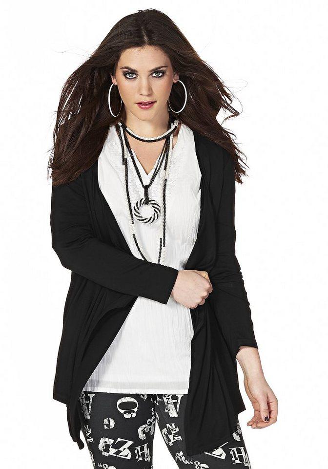 sheego Trend Shirtjacke in Zipfeloptik in schwarz