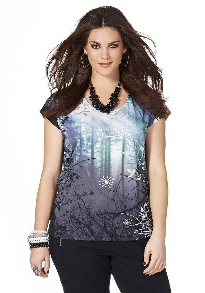 sheego Trend Shirt mit modischem Frontdruck in grau-schwarz