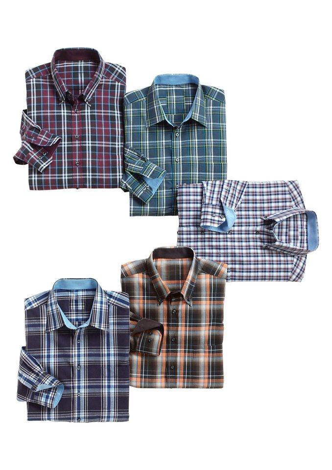 Maxclusiv Hemd, Maxclusiv mit Kent- oder Button-Down-Kragen in jeansblau-grün