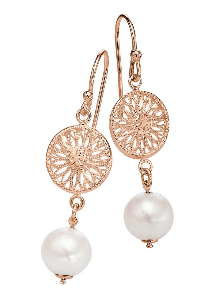 "firetti Ohrschmuck: Paar Ohrhaken ""Sonne"" mit Perle in Silber 925, rosévergoldet"