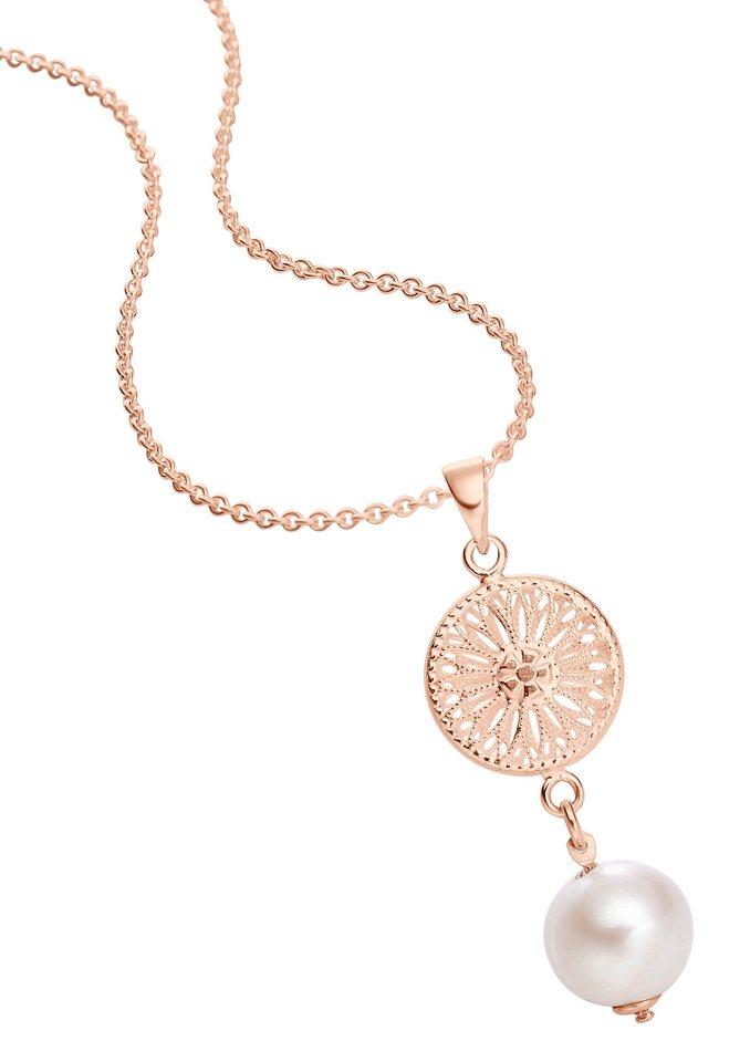 """firetti Halsschmuck: Halskette """"Sonne"""" in Rund-Ankerkettengliederung mit Perle in Silber 925, rosévergoldet"""