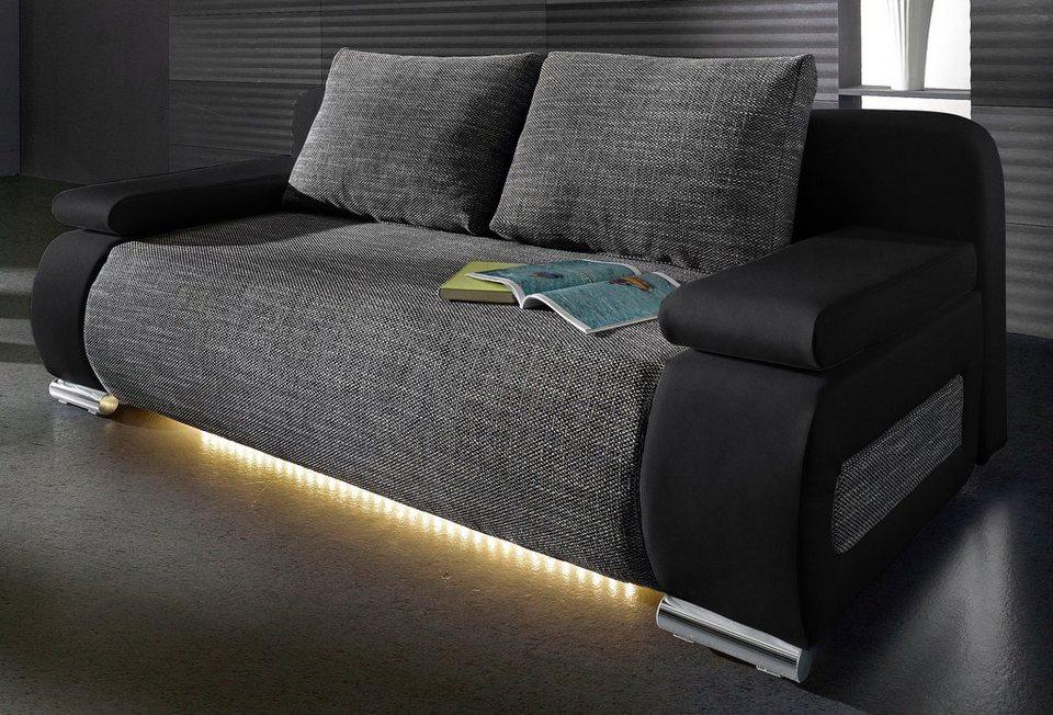 Schlafsofa, wahlweise mit LED-Unterbeleuchtung in schwarz/schwarz