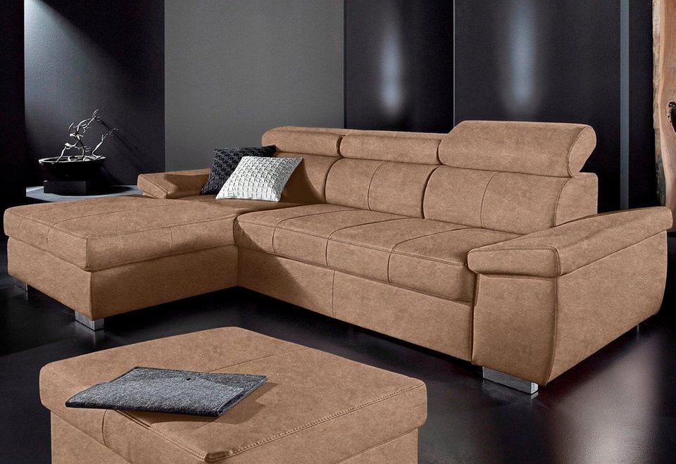 Polsterecke mit Recamiere, Sit & More, wahlweise mit Bettfunktion in braun