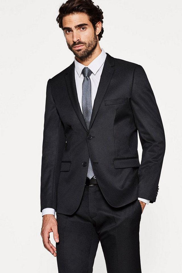 ESPRIT COLLECTION Stretch-Blazer mit feiner Struktur in BLACK