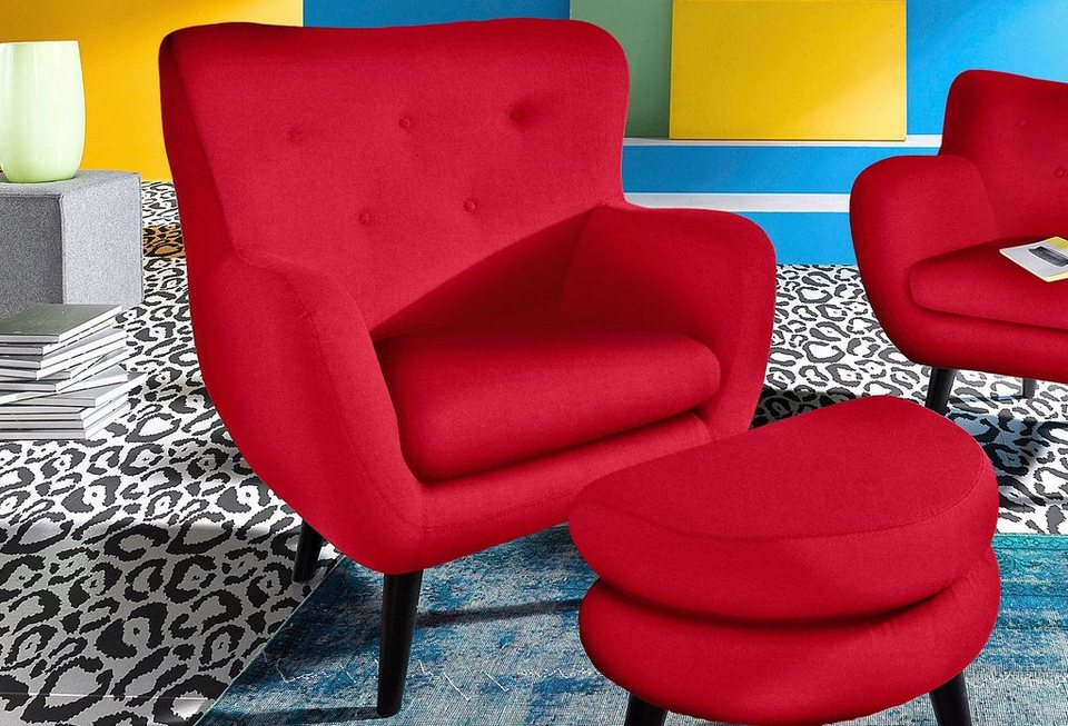 INOSIGN Loungesessel im Retro-Style in rot
