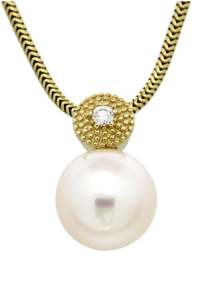 Vivance Jewels Halsschmuck: Anhänger ohne Kette mit Perle und Diamant in Gelbgold 333