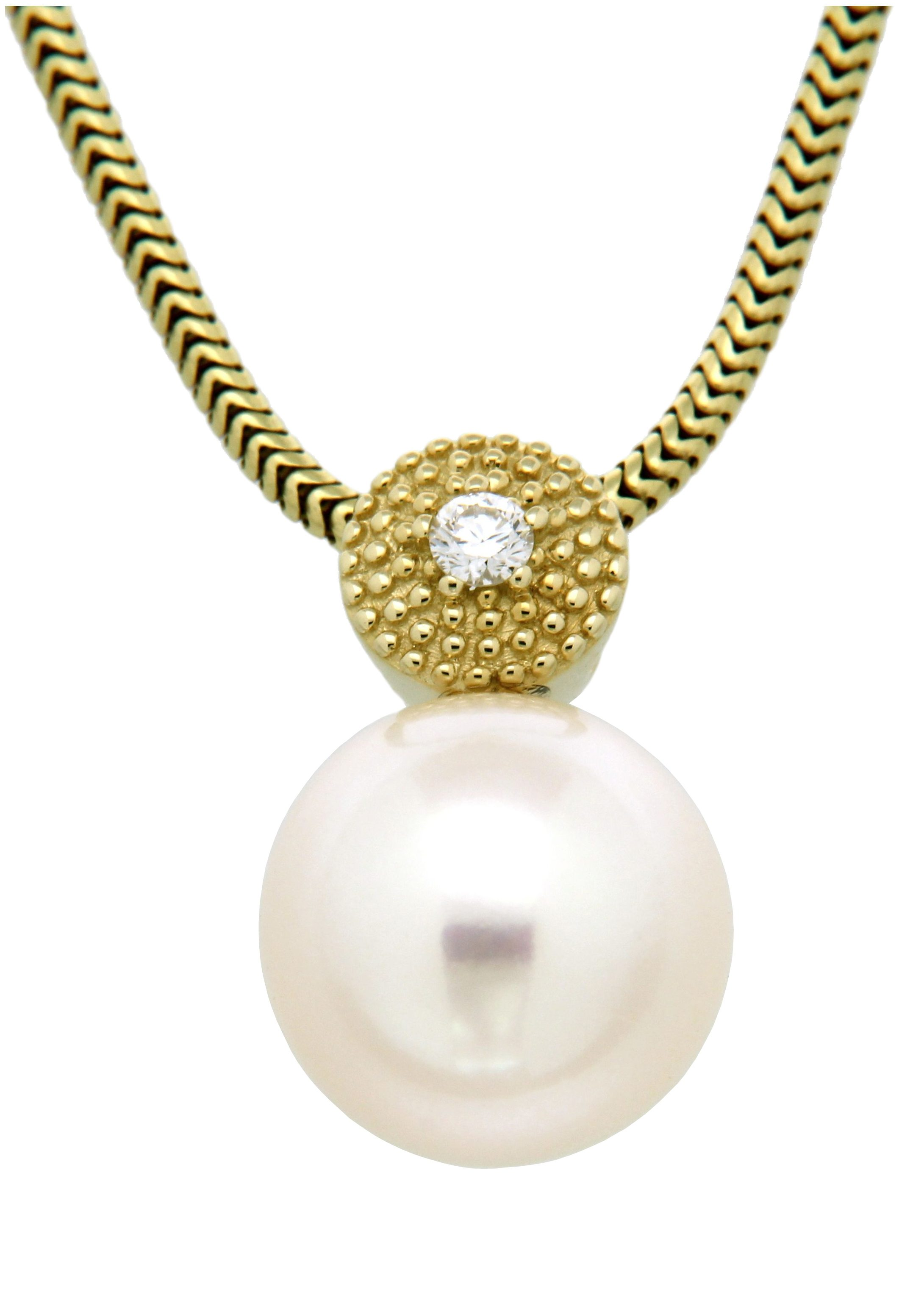 Vivance Jewels Halsschmuck: Anhänger ohne Kette mit Perle und Diamant