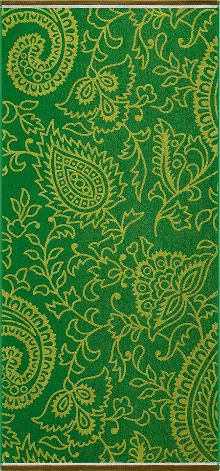 Strandtuch, Egeria, »Indira«, mit floralen Mustern in grün