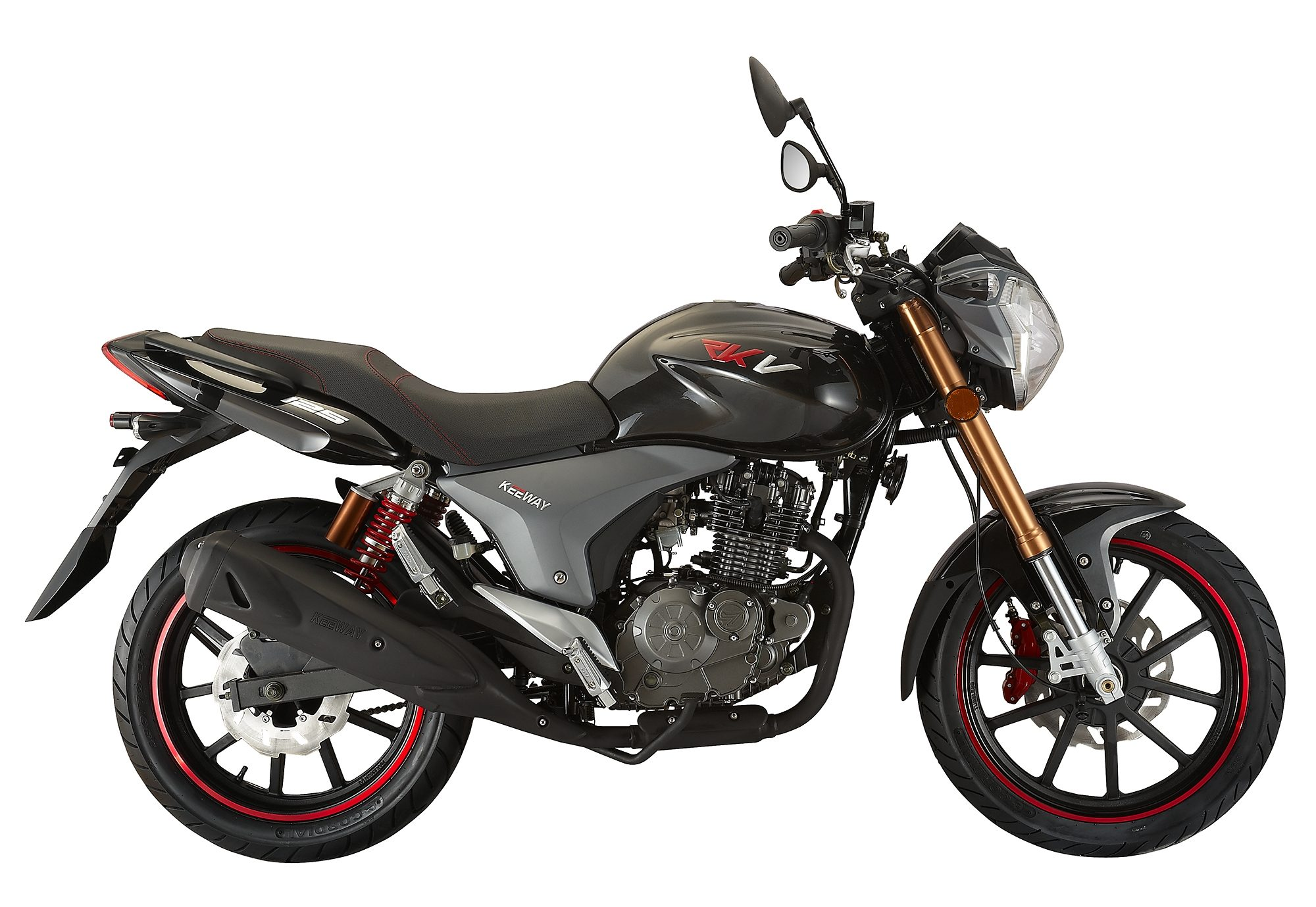 Motorrad, 95 km/h, 124,5 ccm, 11,15 PS, schwarz , »RKV 125 Naked«, Keeway