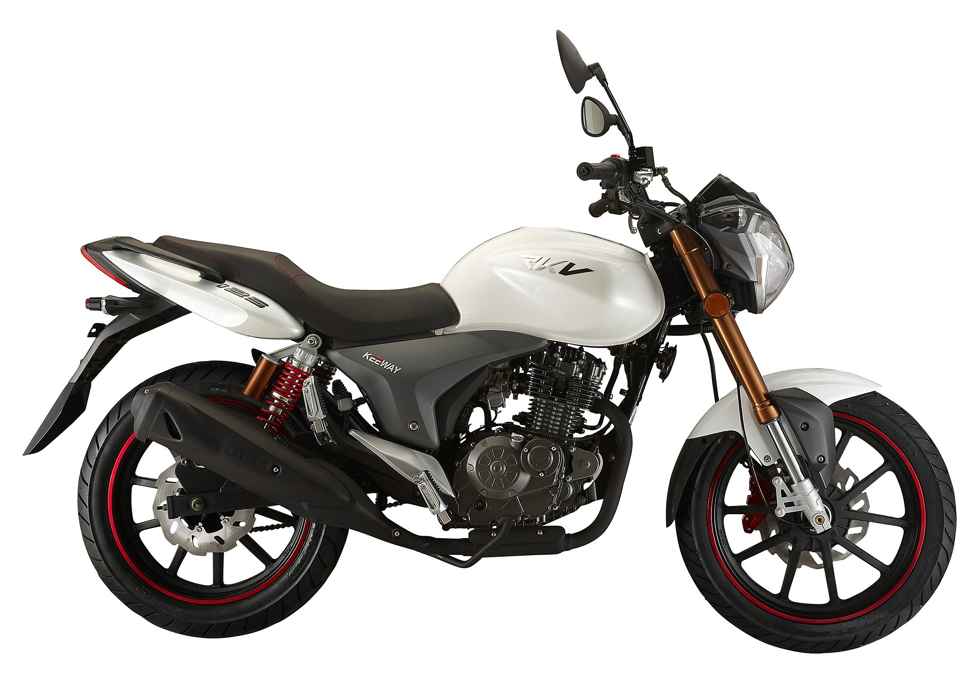 Motorrad, 95 km/h, 124,5 ccm, 11,15 PS, weiss , »RKV 125 Naked«, Keeway