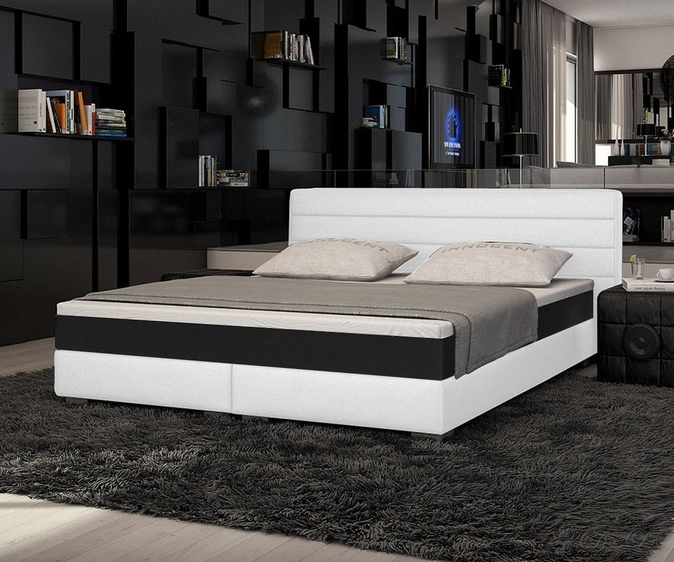 innocent boxspringbett aus kunstleder wei panson online. Black Bedroom Furniture Sets. Home Design Ideas