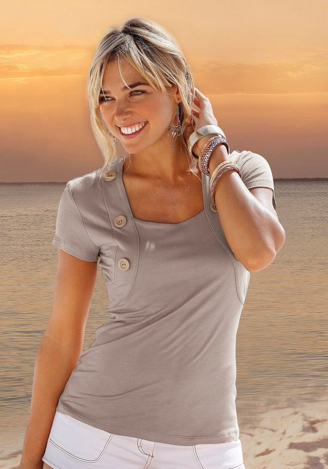 LASCANA Shirt mit Bolero-Optik in taupe